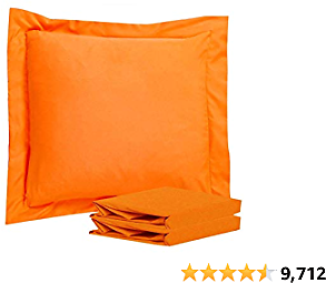 NTBAY 100% Brushed Microfiber European Square Throw Pillow Cushion Cover Set of 2, Soft and Cozy, Wrinkle, Fade, Stain Resistant (18x18 Inches, Orange)