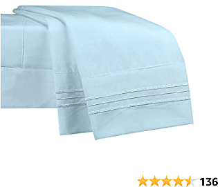 NEWCASTLE Collection - Deluxe Bed Sheet Set - 1800 Brushed 100% Microfiber Bedding - Wrinkle, Fade, Stain Resistant - 4 Piece Set (Queen, Sky)