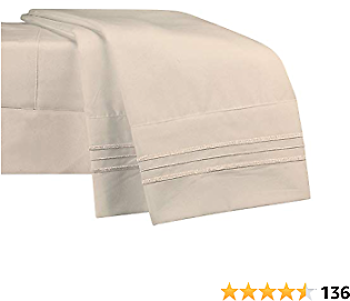NEWCASTLE Collection - Deluxe Bed Sheet Set - Twin Size - Beige Color - 20% OFF