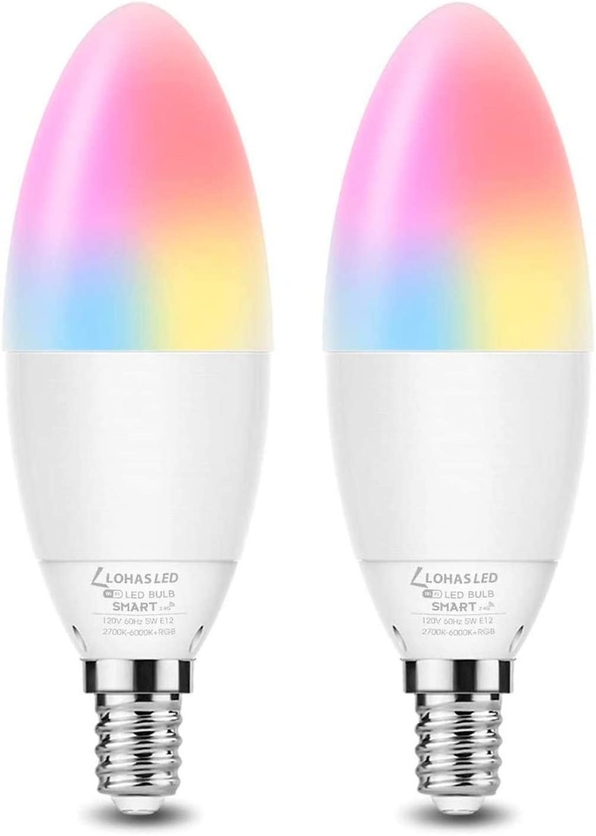 LOHAS LED Candelabra Bulb E12 Base Smart Light Bulb, 40W Equivalent Dimmable Ceiling Fan Light, 5W RGBCW Color Changing WiFi Lig
