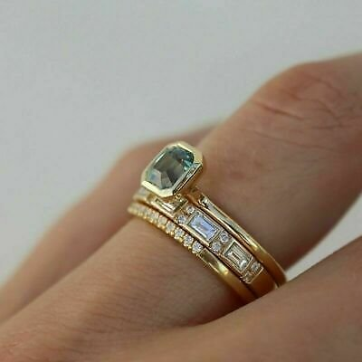 3Pcs/set Luxury Women Sapphire Ring 18K Gold Sapphire Wedding Jewelry Size 6-10