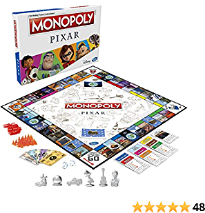 Monopoly: Pixar Edition Board Game for Kids 8 and Up, Buy Locations from Disney and Pixar's Toy Story, The Incredibles, Up, Coco, and More (Amazon Exclusive)
