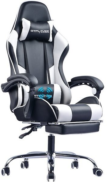 Ergonomic Gaming Chair with Footrest and Massage