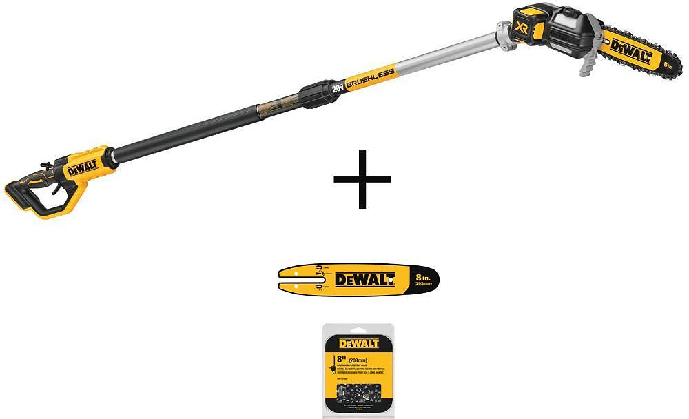 DEWALT 8 In. 20-Volt MAX Cordless Pole Chainsaw (Tool-Only) with 8 In. Pole Chainsaw Bar and 8 In. Chainsaw Chain (34 Link )-DCPS620BWSB8608