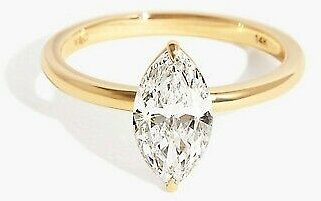 2 CT Marquise Diamond Solitaire Engagement Ring 14KT Yellow Gold Ring For Women