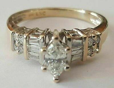 1.50 Ct Marquise and Diamond Engagement Wedding Ring 14K Yellow Gold Finish
