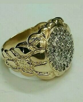 0.50 Ct Round Cut Diamond 14k Yellow Gold Finish Cluster Mens Engagement Ring