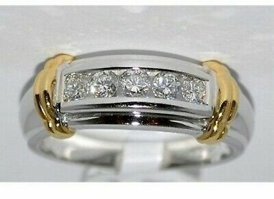 Men's 1.50 Ct Diamond Wedding Engagement Pinky Ring Band 14K Two Tone Gold Over