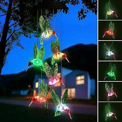 LED Hummingbird Wind Chime Solar Powered Lights Color-Changing Yard Garden Decor 763769779579