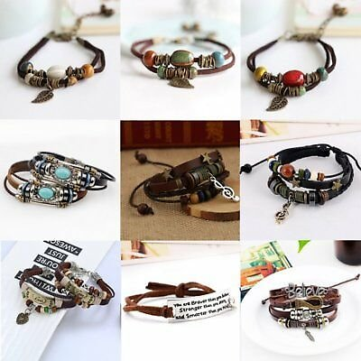 Adjustable Women Men Feather Heart Multilayer Leather Bracelet Bangle Jewelry