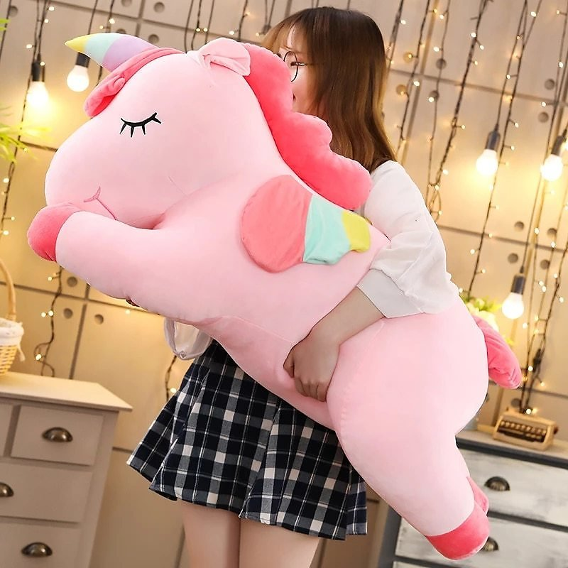 25-100cmKawaii Giant Unicorn Plush Toy Soft Stuffed Unicorn Soft Dolls Animal Horse Toys For Children Girl Pillow Birthday Gifts
