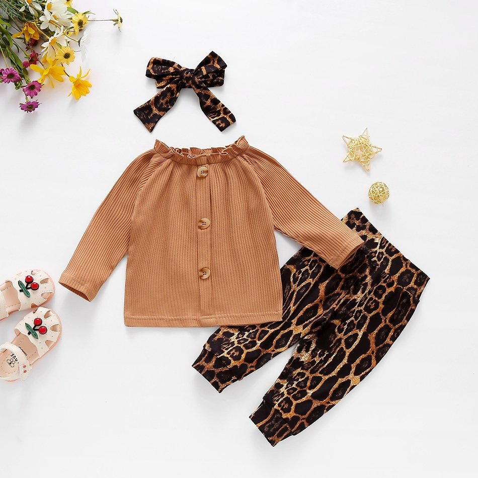 3pcs Baby Girl Sweet Leopard Baby's Sets Fashion Long Sleeve Infant Clothing Outfits
