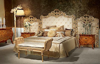 Brand NEW Italian Made 8-Piece Fiori King Size Bed Set, Extensively HAND CARVED