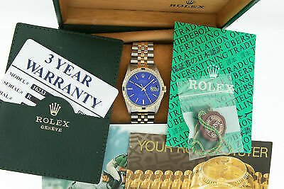 Rolex Mens Datejust Watch Steel - 18K Yellow Gold Blue Index Dial Diamond Bezel
