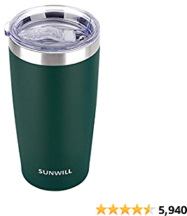 SUNWILL 20oz Tumbler with Lid, Stainless Steel Vacuum Insulated Double Wall Travel Tumbler, Durable Insulated Coffee Mug, Powder Coated Dark Green, Thermal Cup with Splash Proof Sliding Lid