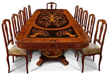 BRAND NEW Gorgeous Dining Table (10-12 Person), Made in Italy, Floral Inlays