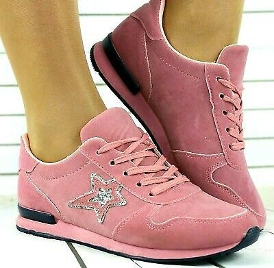 Womens Pink Lace Up Trainers Ladies Flat Comfy Fitness Gym Running Sports Shoes