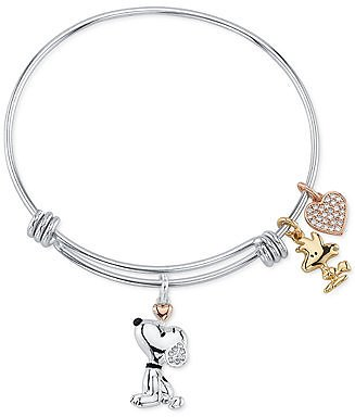 Peanuts Unwritten Snoopy & Woodstock Bangle Bracelet in Tri-Tone Stainless Steel with Silver Plated Charms & Reviews - Bracelets - Jewelry & Watches