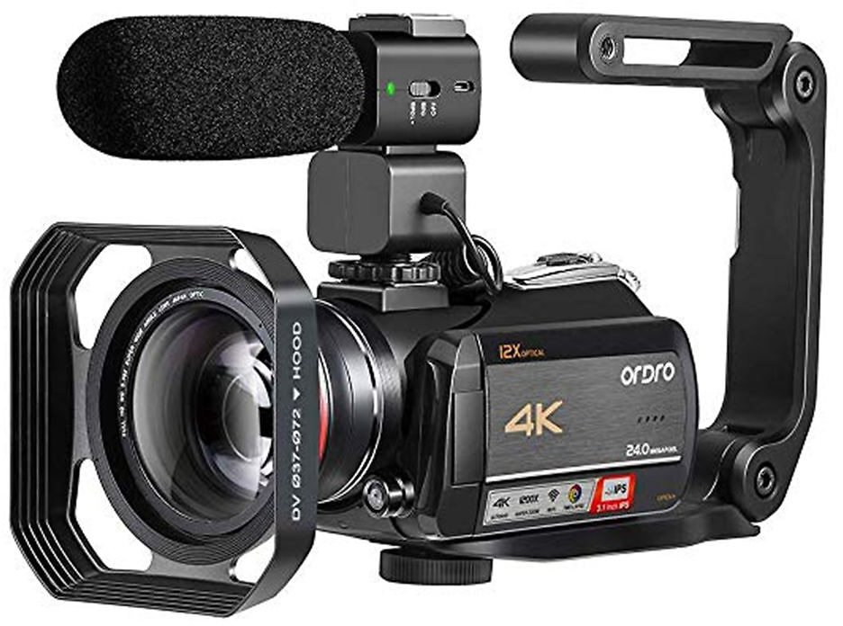 Video Camera 4K Vlog for YouTube Filming Live Streaming Ordro AC5 12X Optical Zoom Home Camcorder Filmadora Profesional
