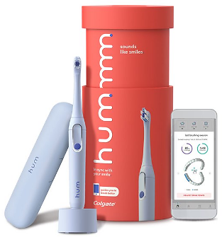 Hum By Colgate Smart Electric Toothbrush Kit, Sonic Toothbrush with Travel Case, Blue