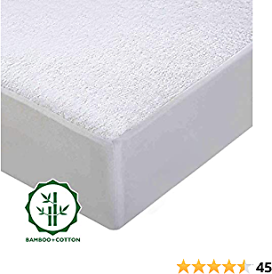 Omysky Queen Size Mattress Protector 3D Air Fabric Ultra Soft Breathable Mattress Pad Cover Comfort & Protection Noiseless