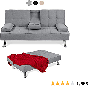 Best Choice Products Best Linen Upholstered Modern Convertible Folding Futon Sofa Bed for Compact Living Space, Apartment