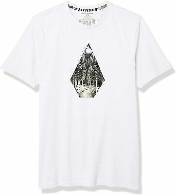 Volcom Mens T-Shirt White USA Size 2XL Graphic Tee Camping Printed Diamond #170