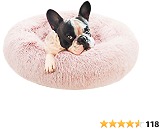 Eterish Fluffy Round Calming Dog Bed Plush Faux Fur, Anxiety Donut Dog Bed for Small, Medium Dogs and Cats, Pet Cat Bed with Raised Rim, Machine Washable