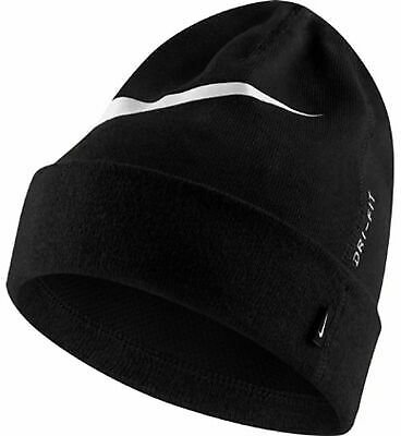 NIKE DRI-FIT BEANIE WARM WINTER HAT SWOOSH LOGO WOOLY HAT UNISEX BLACK