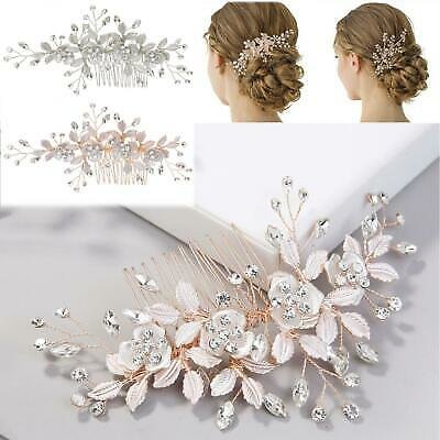 Leaves Flower Crystal Hair Comb Wedding Hair Accessories Bride Hair Clip Jewelry | eBay