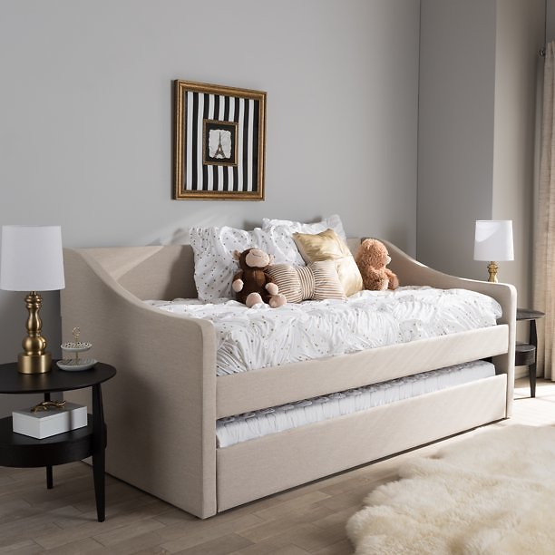 Baxton Studio Barnstorm Modern and Contemporary Fabric Upholstered Daybed with Guest Trundle Bed, Multiple Colors