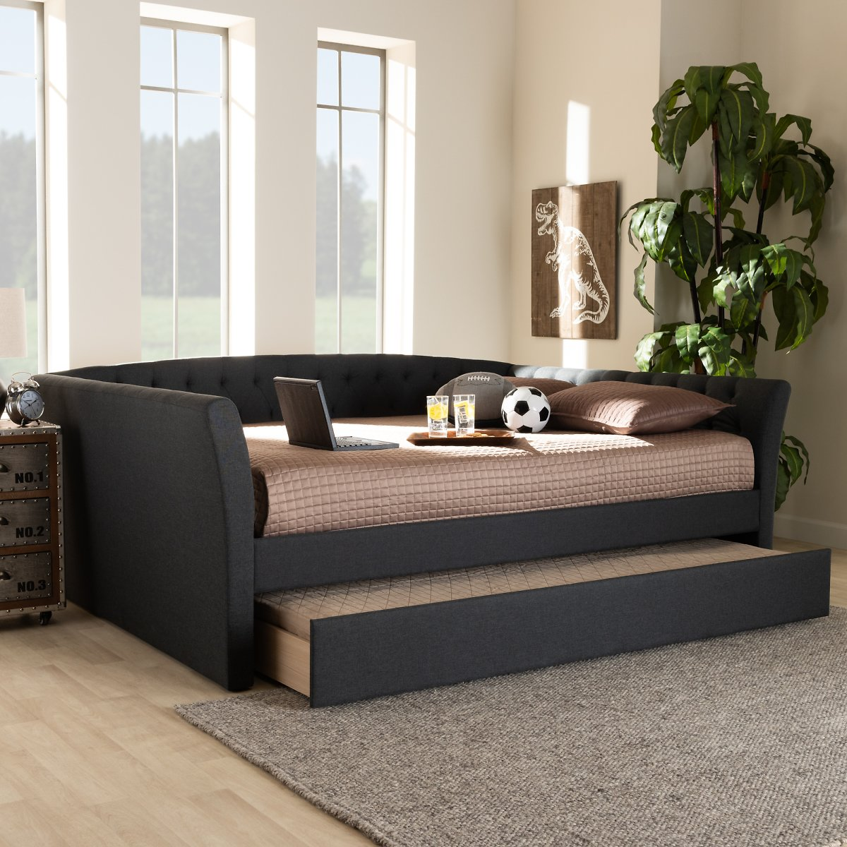 Baxton Studio Delora Dark Gray Upholstered Full Size Daybed with Roll-Out Trundle Bed