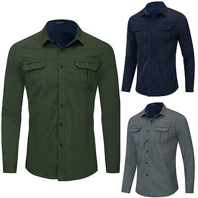 New Mens Classic Pocket Work Shirt Long Sleeve Solid Cotton Military Shirts Tops
