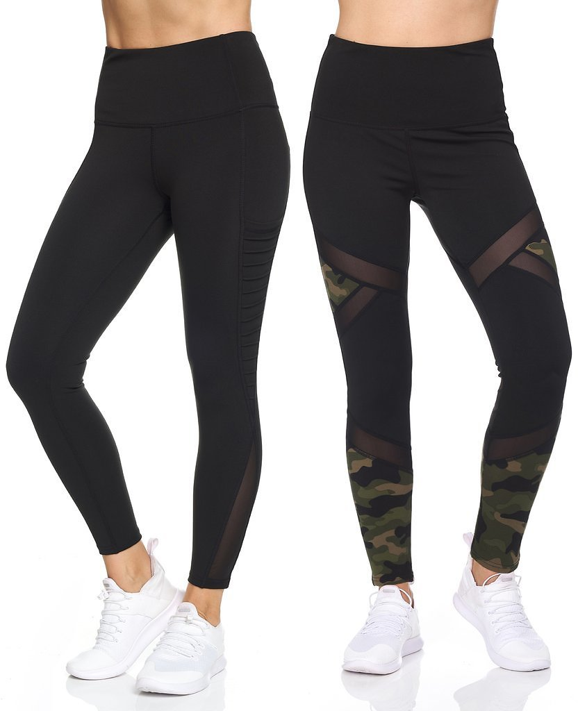 2-Pack: Women's Active High Waist 7/8 Leggings With Motto Mesh And Pockets