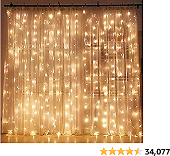 Twinkle Star 300 LED BeWindow Curtain String Light Wedding Party Home Garden Bedroom Outdoor Indoor Wall Decorations, Warm White