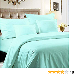 NTBAY Hotel Luxury 5 Pieces Bedding Set 100% Egyptian Cotton Sateen Hotel Luxury 400 Thread Count with 1 Duvet Cover, 2 Pillow Cases, 2 Throw Pillow Case Cushion Covers, Queen, Cyan