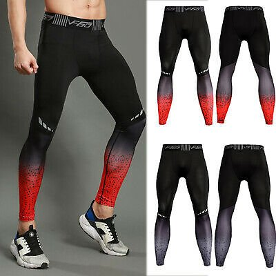 Mens Sports Workout Leggings Athletic Compression Gym Yoga Cycling Running Pants