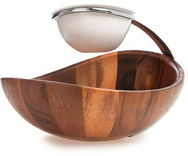 2-Tier Acacia Wood Ceramic Chip and Dip Bowl Serving Bowls Set Two Tiered Server