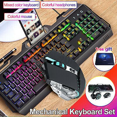 LED Glowing Computer Gaming Keyboard and Mouse Wired Mechanical Game !! !CD