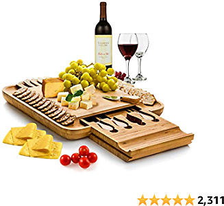 BAMBÜSI Cheese Board and Knife Set - Premium Bamboo Charcuterie Board Serving Tray and Cutlery with Slide-Out Drawer - Perfect Christmas Gift Idea