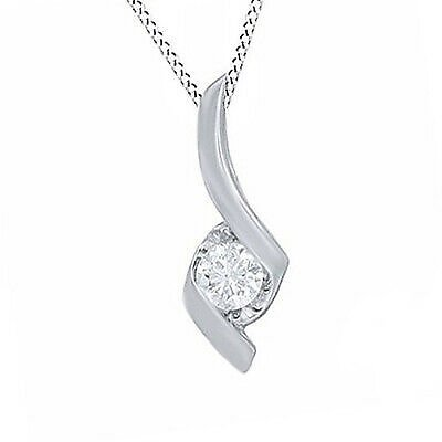 Cyber Monday Round Cut Diamond Solitaire Pendant Necklace In 14K White Gold
