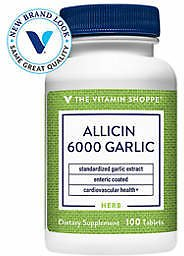 The Vitamin Shoppe® Allicin 6000 Standardized Garlic Extract - Enteric Coated - 650 MG (100 Tablets)