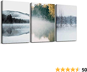 Nature Canvas Prints White Misty Lake and Rural Landscape Wall Art Foggy Forest Wall Paintings for Bedroom Living Room Framed Ready to Hang