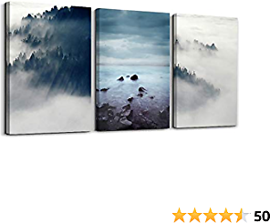 3 Pieces Abstract Canvas Wall Art Natural Forest Lake Wall Paintings Landscape Wall Art for Living Room Bedroom Ready to Hang