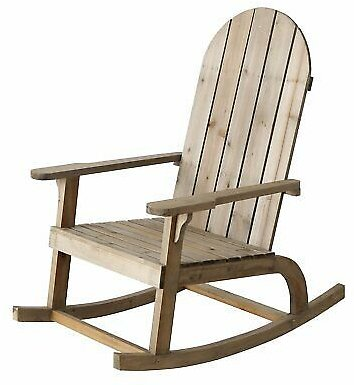 Rocking Chair Jacky Natural Wooden Swing Armchair Relaxation Mediterranean New
