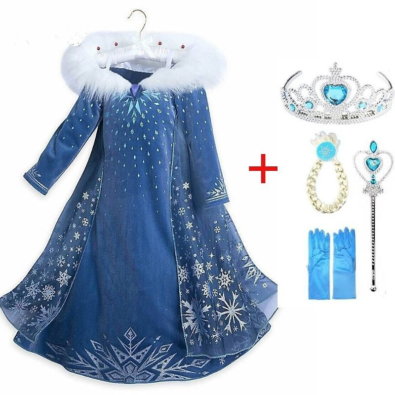 2020 New Elsa Dress Girls Party Vestidos Cosplay Girl Clothing