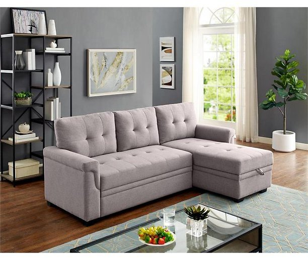 Bowery Hill Light Gray Linen Reversible/Sectional Sleeper Sofa with Storage