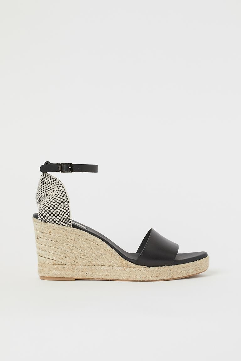 Wedge-heeled Leather Sandals H&M