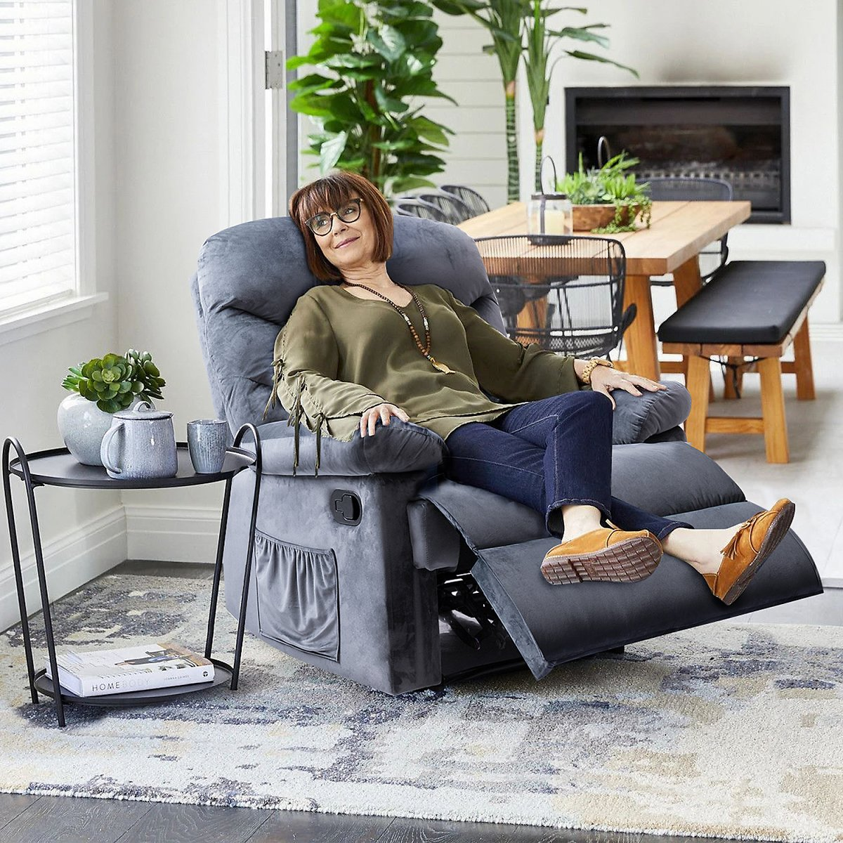 Walnew Manual Recliner with Massage and Huge Pocket, Gray Microfiber