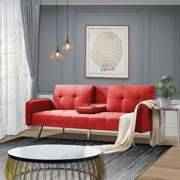 Mid Century Modern Sofa Bed, Sectional Sofa with Metal Legs, Two Cup Holders, Premium Upholstery Fabric Futon Sofa Bed, Love Sea
